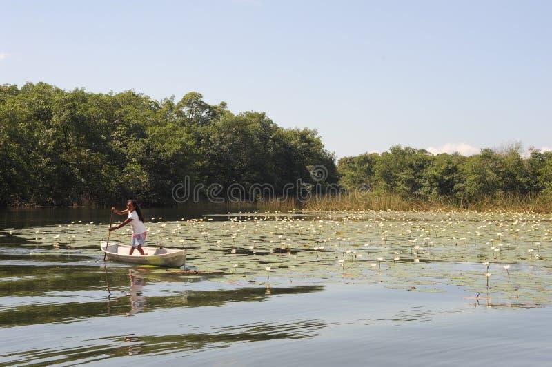 独木舟的女孩在isla在河达尔西的de拉斯弗洛雷斯 免版税库存照片