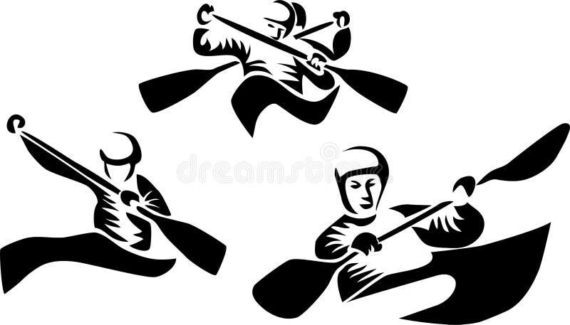 独木舟障碍滑雪 库存例证