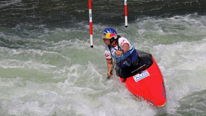 独木舟障碍滑雪ICF世界杯-杰西卡Fox (澳大利亚) 库存图片