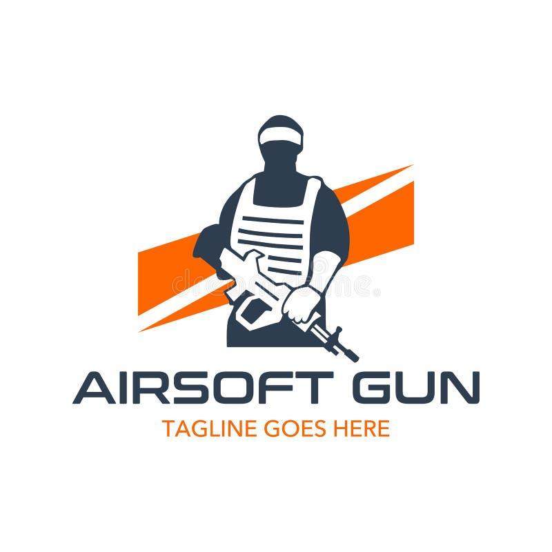 独特和原始的airsoft枪商标模板 皇族释放例证