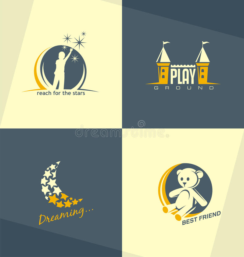 独特和minimalistic孩子商标设计观念 皇族释放例证