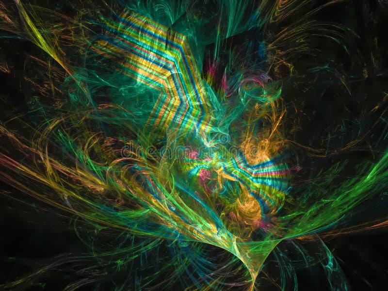 独特抽象数字式分数维科学火焰高雅样式的未来 皇族释放例证