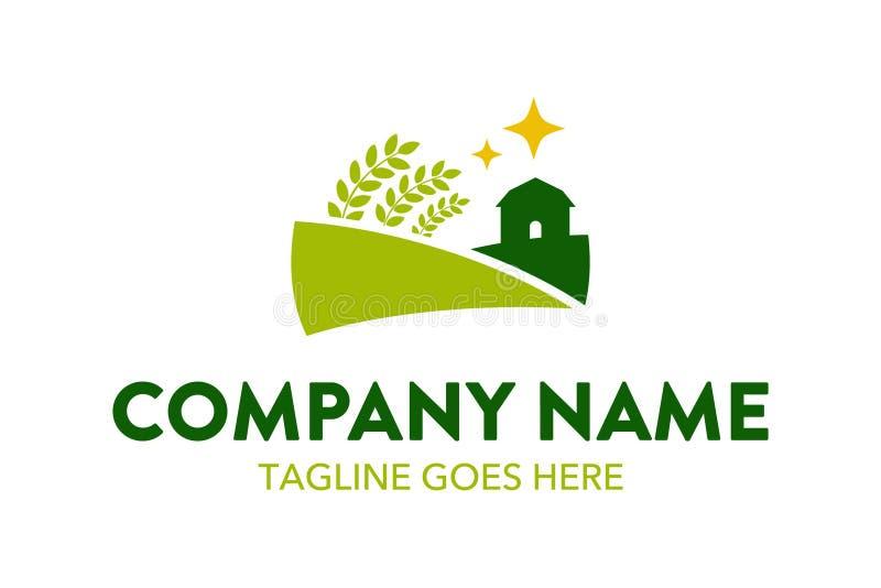 独特的农业和种田,风景商标模板 库存例证