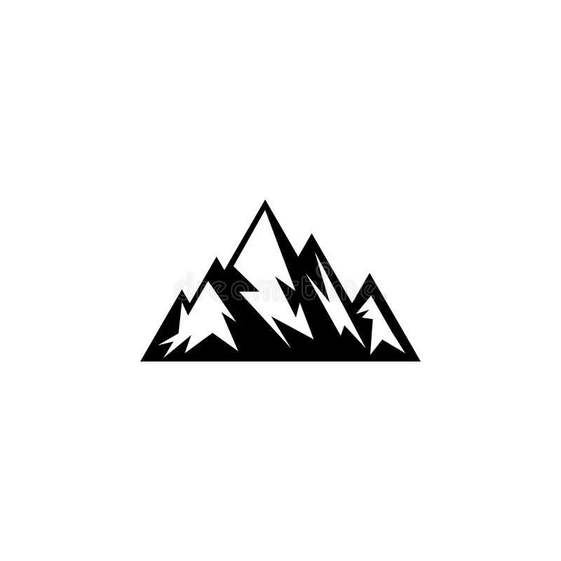 独特的山剪影商标 向量例证