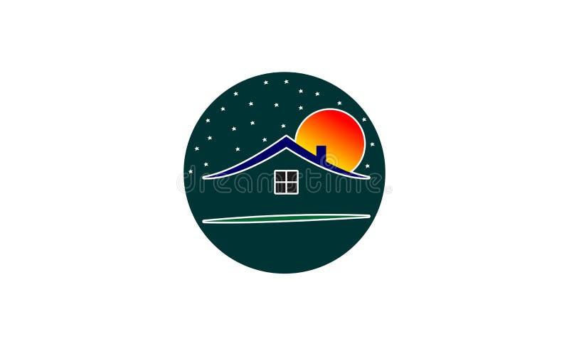 独特的房子商标设计 向量例证