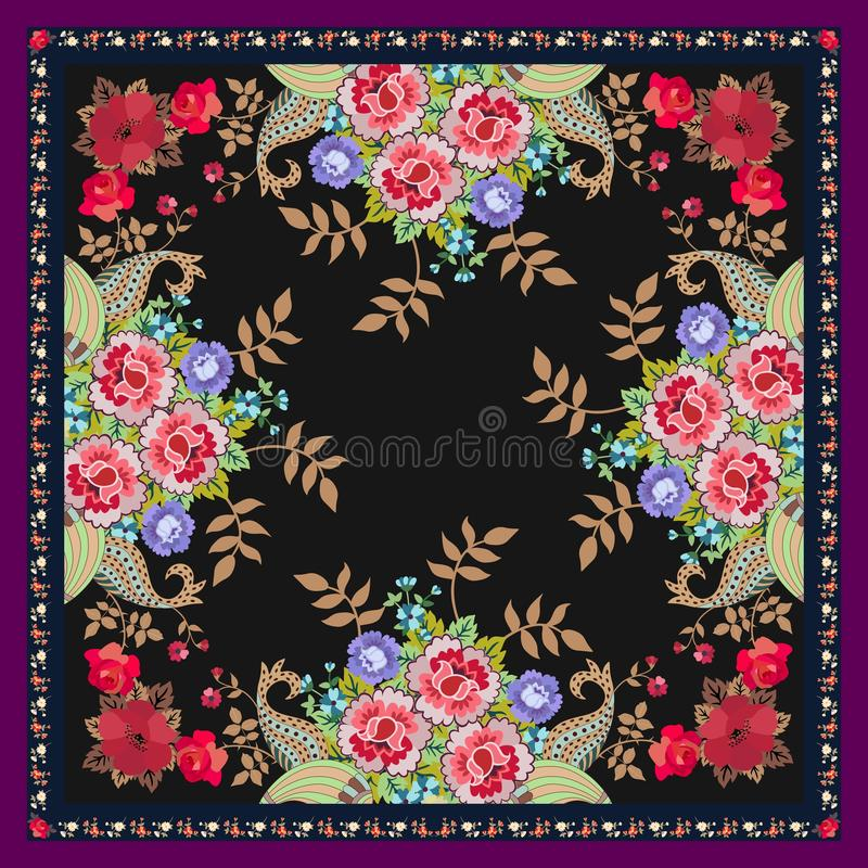 独特的披肩或地毯有幻想花、金黄叶子和佩兹利花束的黑背景的 蓝色云彩图象彩虹天空向量 皇族释放例证