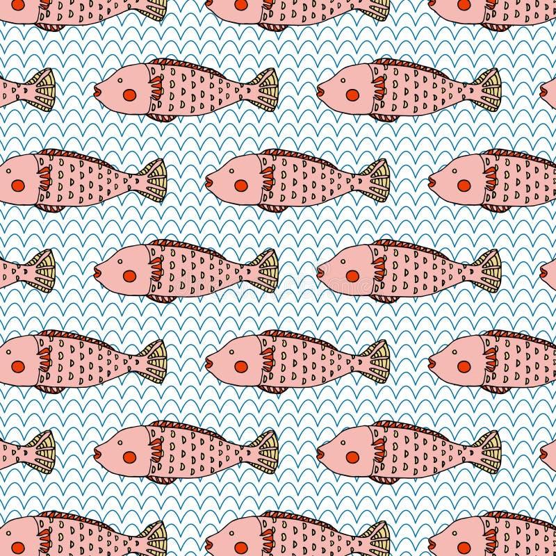 独特的桃红色鱼逗人喜爱的例证无缝的样式传染媒介 皇族释放例证