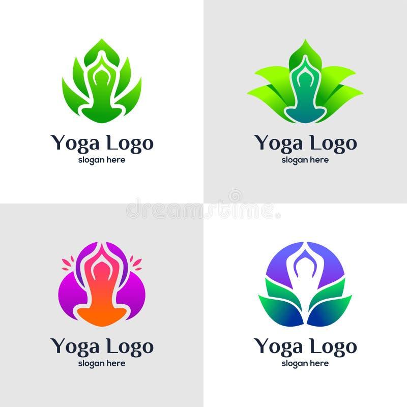 独特的瑜伽商标模板 库存例证