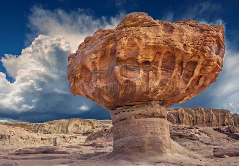 独特的石头在地质公园Timna 免版税库存照片