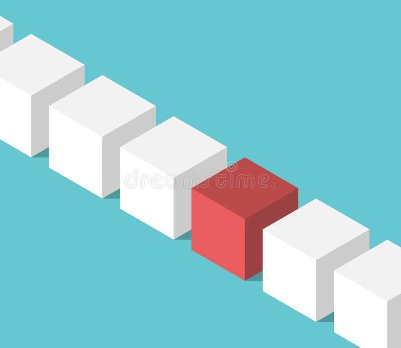 独特的红色等量立方体 皇族释放例证
