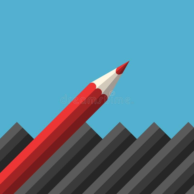 独特的红色锋利的铅笔 库存例证