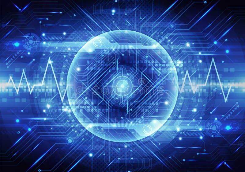 独特的脉冲的抽象3d例证在能量现代技术背景一个光滑的球排行  库存例证
