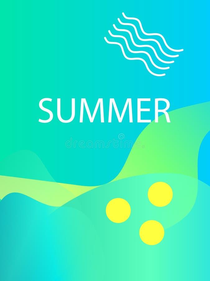 独特的艺术性的夏天卡片有明亮的梯度背景、形状和几何元素在孟菲斯样式 抽象设计卡片 库存例证