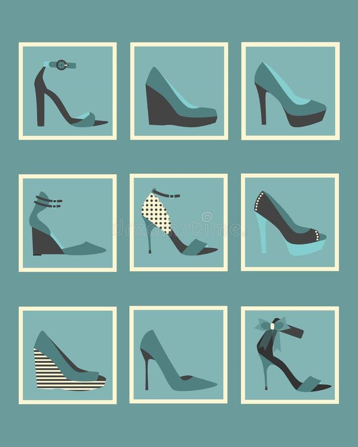 独特的蓝色被设置的妇女鞋子方形的象 向量例证