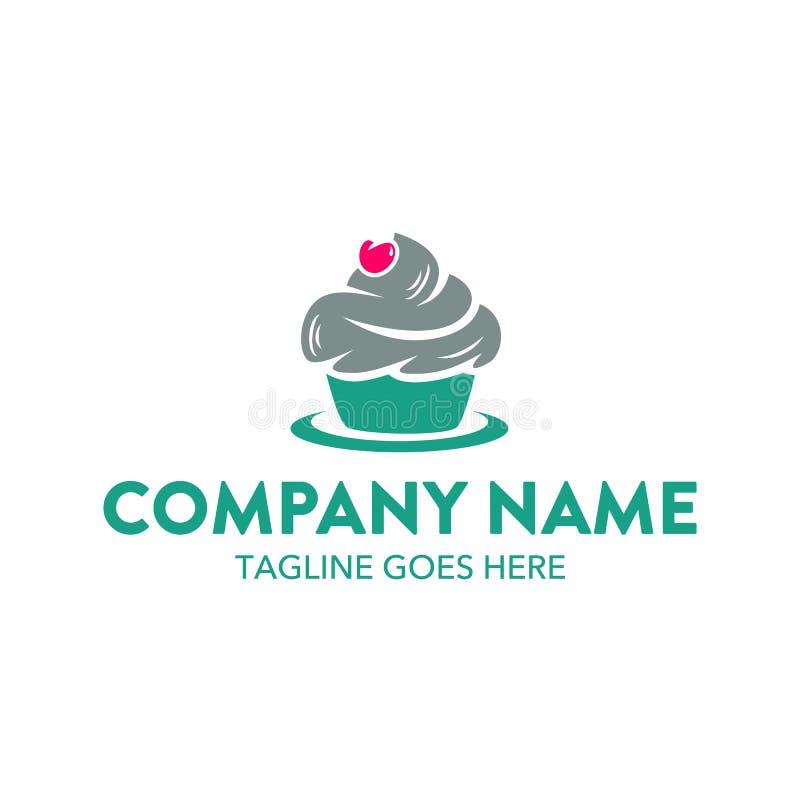 独特的蛋糕和曲奇饼商标模板 向量 编辑可能 向量例证