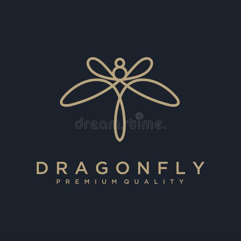 独特的蜻蜓商标模板 简单的形状和颜色 向量 编辑可能 与线艺术s的最低纲领派典雅的蜻蜓商标设计 向量例证