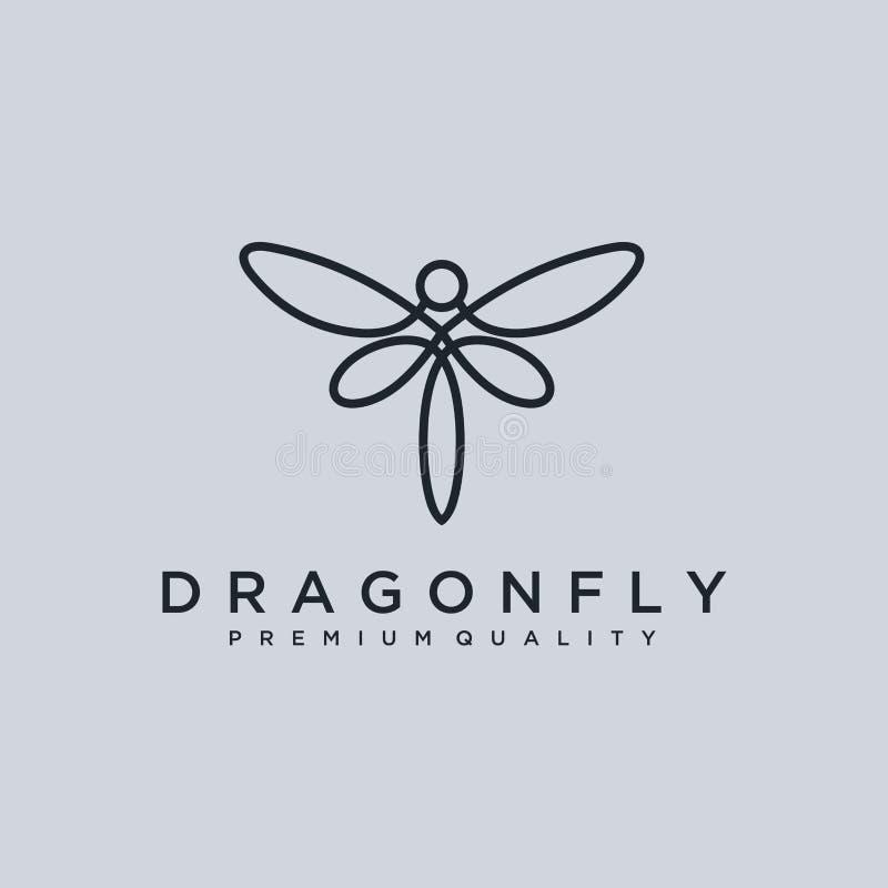 独特的蜻蜓商标模板 简单的形状和颜色 向量 编辑可能 与线艺术s的最低纲领派典雅的蜻蜓商标设计 库存例证