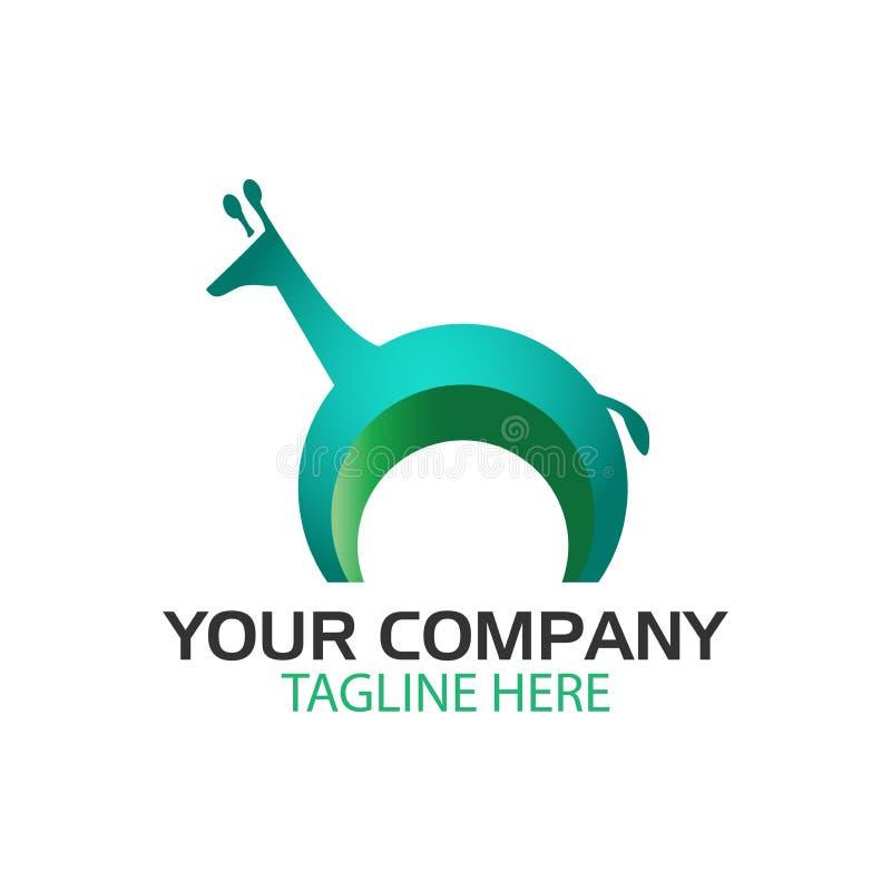独特的长颈鹿商标设计模板,野生动物传染媒介 皇族释放例证