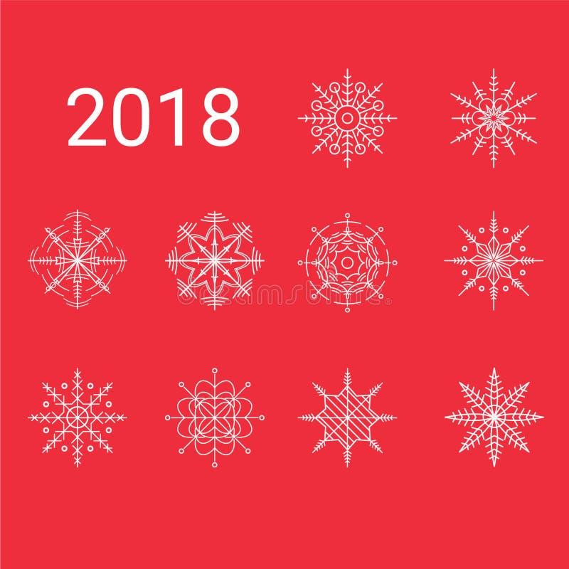 2018 10独特的雪花剪贴美术 皇族释放例证