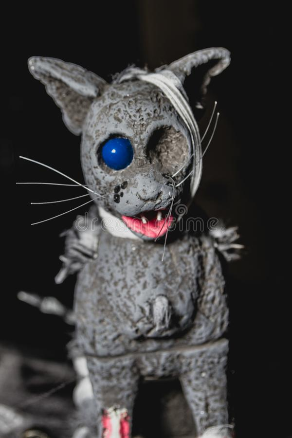 独眼的猫头为万圣节 库存图片