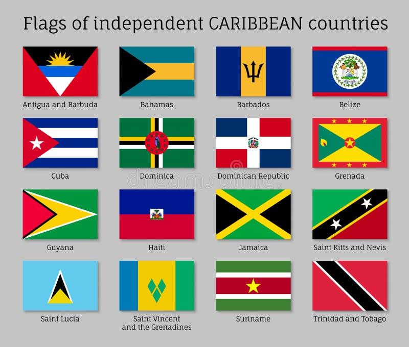 独立加勒比海国家旗子  向量例证