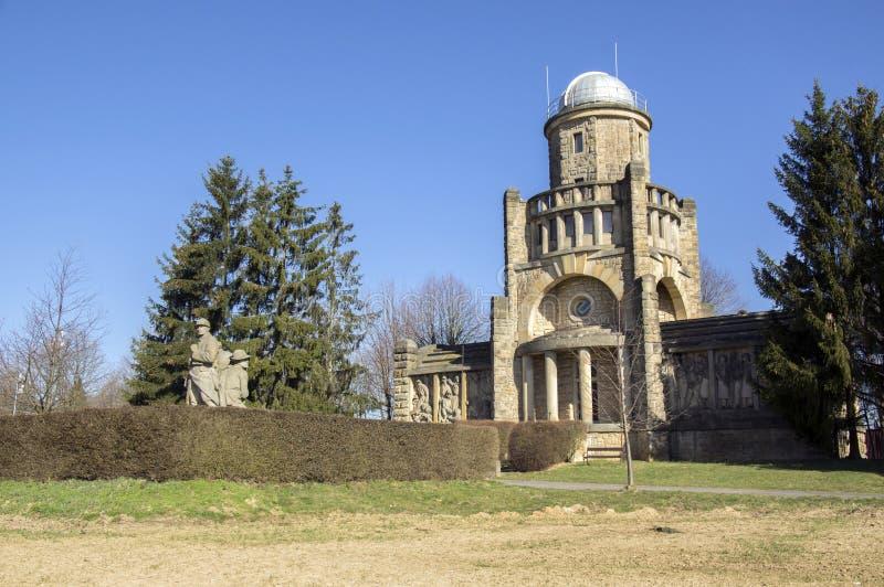 独立历史的马萨里克监视塔在捷克共和国的,好日子Horice 库存照片