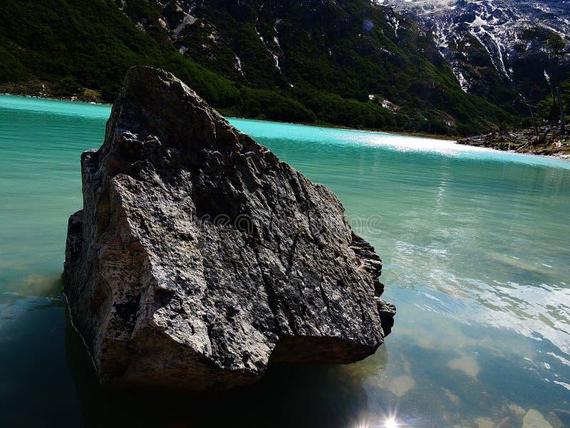 独立小分队在鲜绿色盐水湖 免版税库存图片