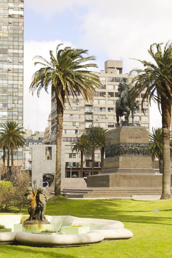 独立广场。蒙得维的亚,乌拉圭 免版税库存图片