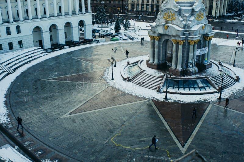 独立广场基辅乌克兰冬天 免版税库存照片