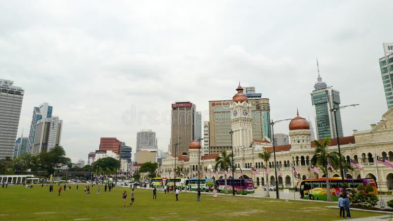 独立报广场是位于吉隆坡的正方形,马来西亚 它在苏丹阿都沙末大厦前面位于 免版税库存图片
