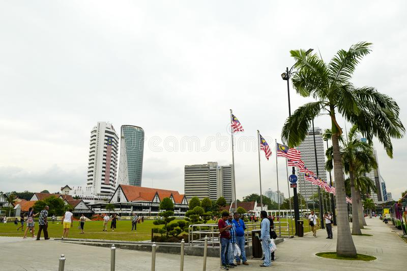 独立报广场是位于吉隆坡的正方形,马来西亚 它在苏丹阿都沙末大厦前面位于 库存照片