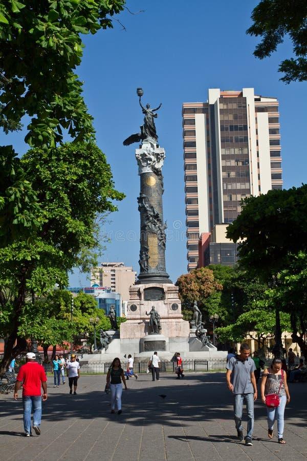 独立纪念碑专栏在瓜亚基尔,厄瓜多尔 免版税图库摄影