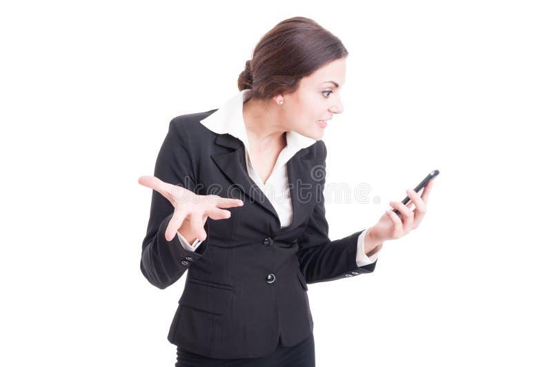 独裁的女性在录影电话的经理过分要求的解释 免版税库存照片