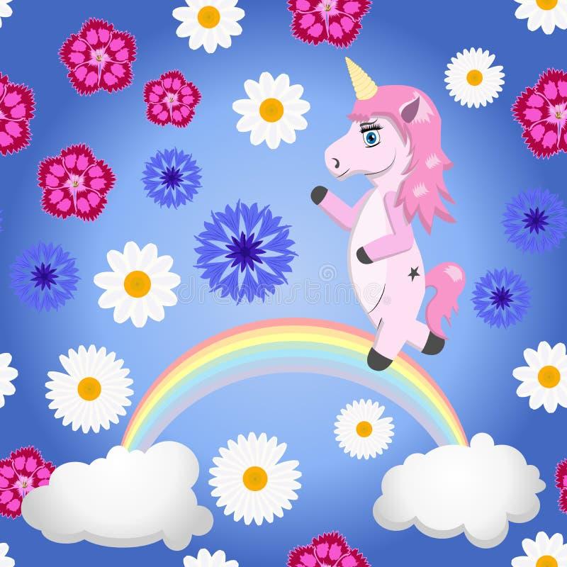 独角兽、花和彩虹-在动画片样式的无缝的传染媒介样式 皇族释放例证