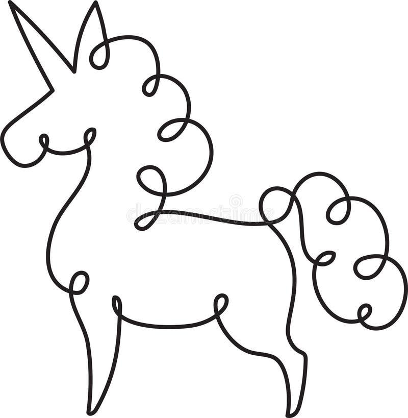 独角兽一线描 抽象实线典雅的传染媒介乱画 库存例证
