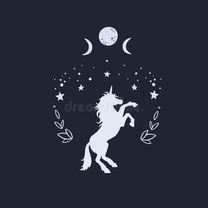 独角兽与满天星斗的天空和月亮的夜 幻想样式,不可思议的森林梦想概念性例证,纹身花刺 皇族释放例证