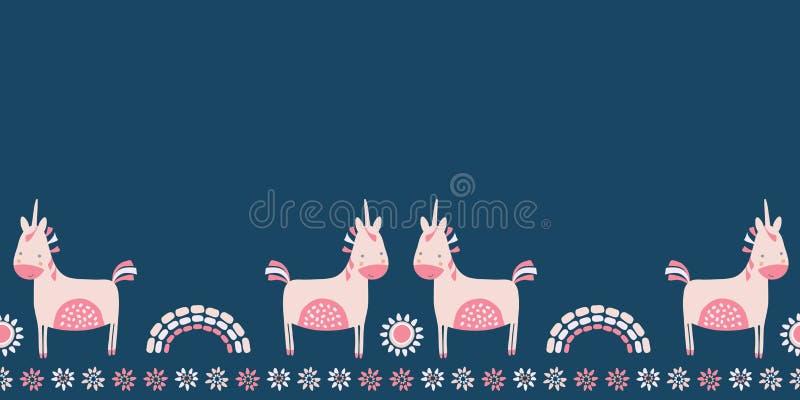 独角兽和彩虹毗邻无缝的重复样式 甜儿童的边界样式背景 装饰的理想 皇族释放例证