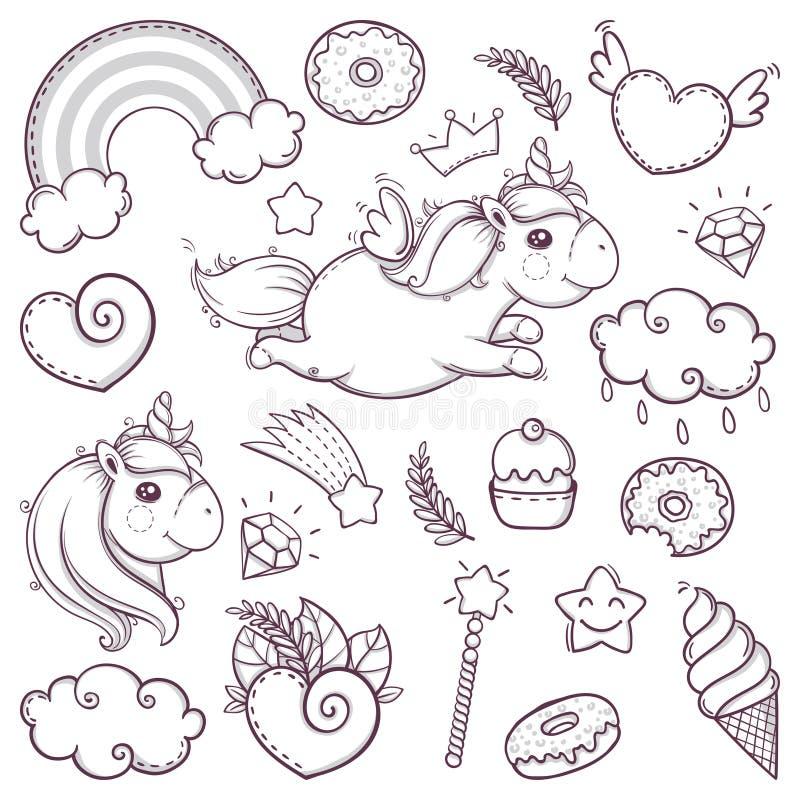 独角兽在动画片剪影乱画样式的甜点集合