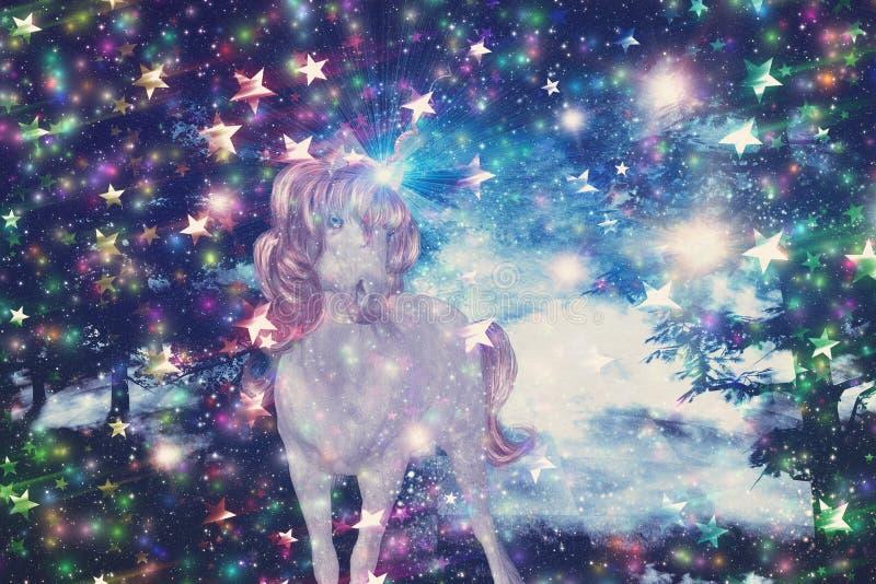 独角兽在满天星斗的森林里 向量例证