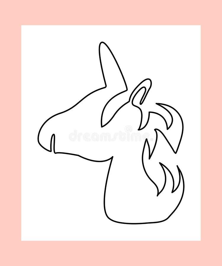独角兽外形图  意想不到的生物,神秘的动物线性剪影  库存例证
