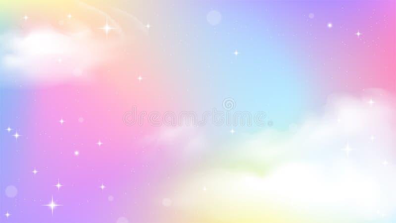 独角兽天空五颜六色的梯度 向量例证