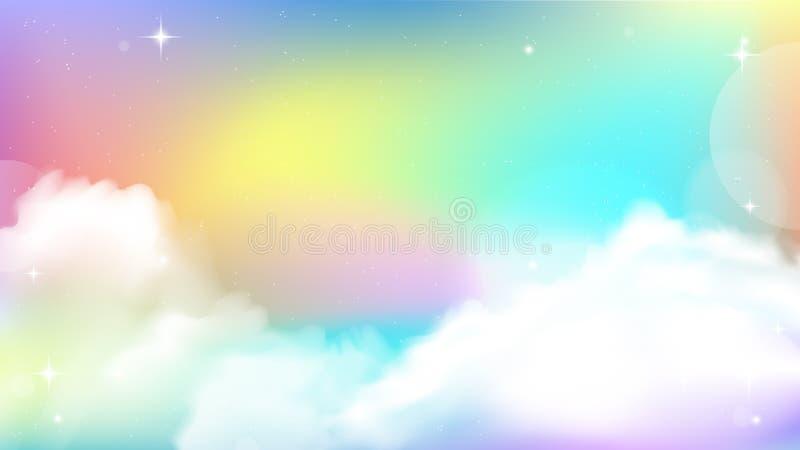 独角兽天空五颜六色的梯度 库存例证