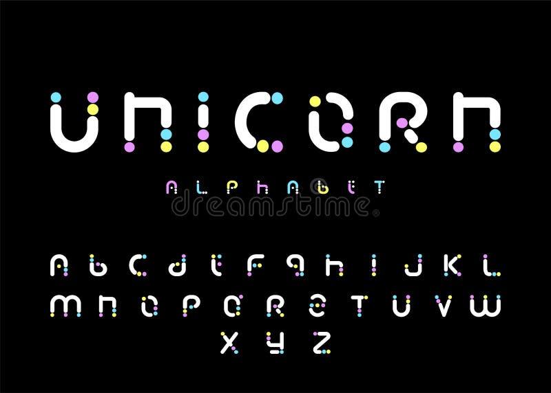 独角兽字母表,彩虹字体,滑稽和逗人喜爱的信件,传染媒介例证 库存图片