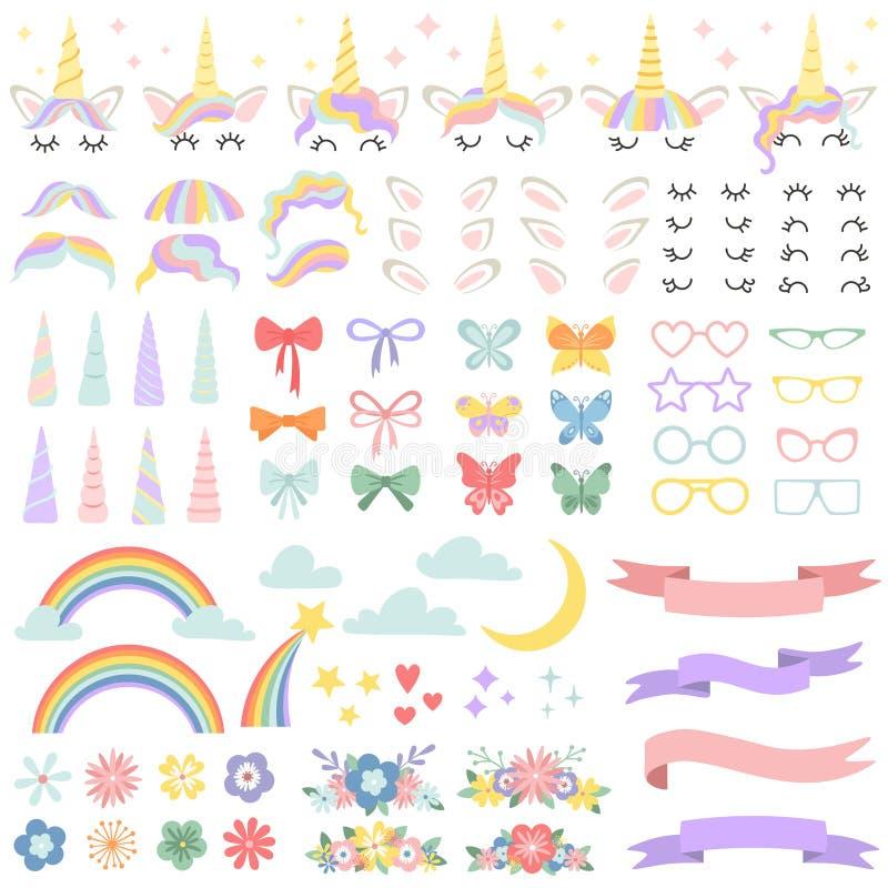 独角兽建设者 小马鬃毛称呼捆绑的,独角兽垫铁和党担任主角玻璃 花、不可思议的彩虹和头 向量例证
