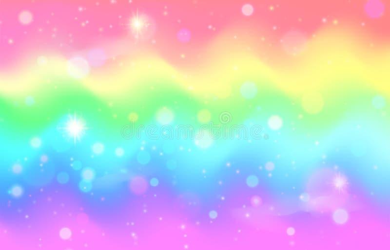 独角兽彩虹波浪背景 美人鱼星系样式 向量例证