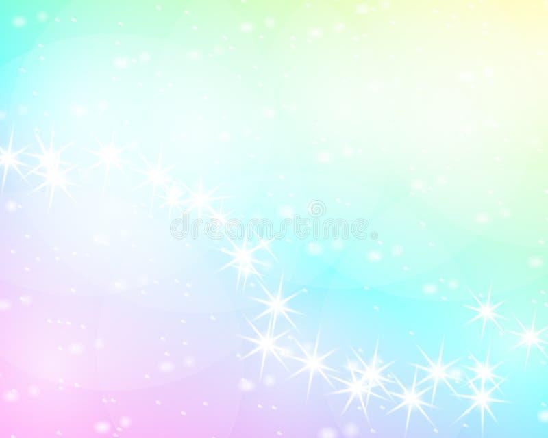 独角兽彩虹背景 在淡色的全息照相的天空 在公主颜色的明亮的美人鱼样式 也corel凹道例证向量 皇族释放例证
