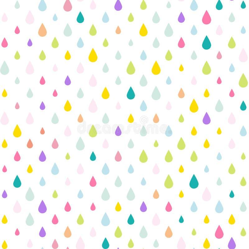 独角兽撕毁水下落下雨投下背景,在传染媒介eps 10的无缝的五颜六色的样式 向量例证