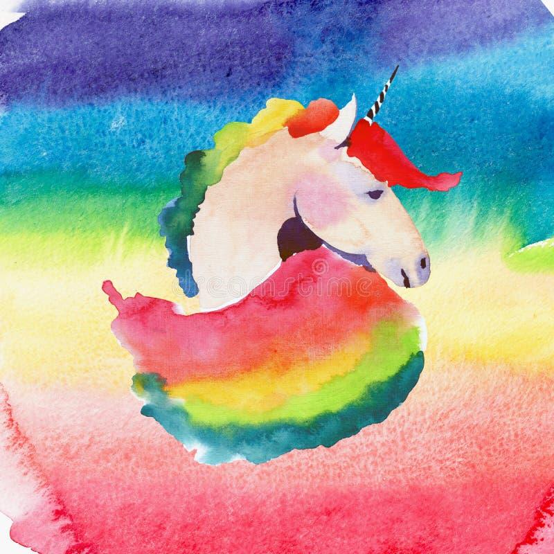 独角兽明亮的可爱的逗人喜爱的神仙的不可思议的五颜六色的画象在桃红色和红色的在水彩彩虹背景 水彩手sk 向量例证