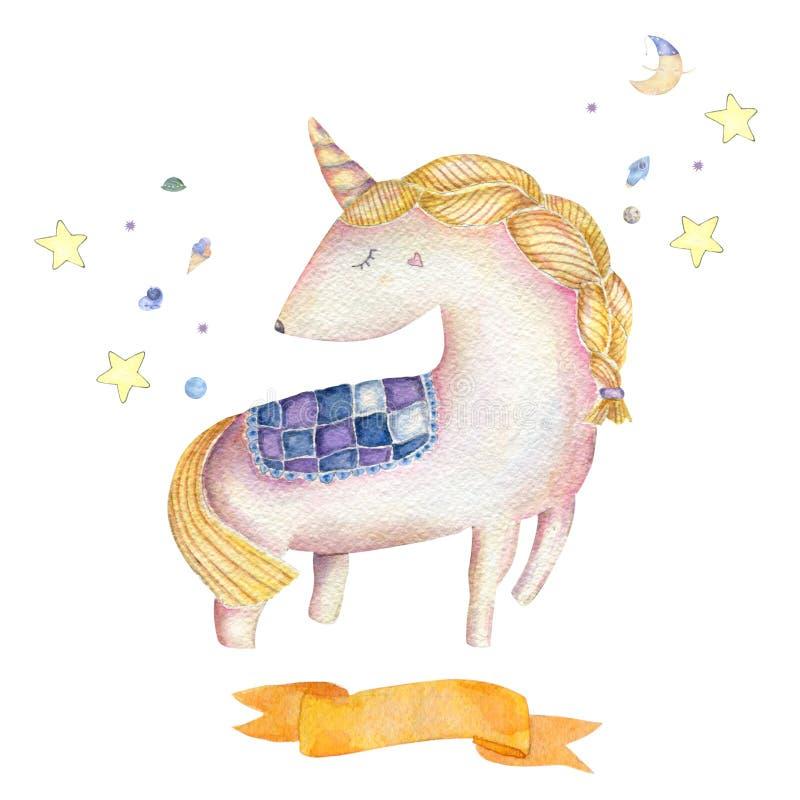 独角兽水彩水彩桃红色独角兽美丽的动物逗人喜爱的小马小的马剪贴美术图画魔术例证 向量例证