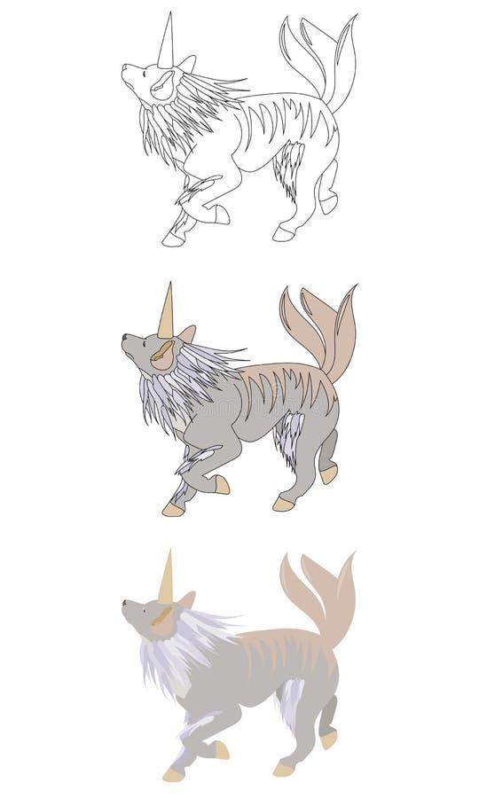 独角兽狗,三个版本 图库摄影
